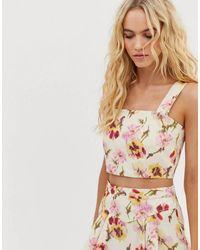 & Other Stories Floral Linen Blend Corset Top Co-ord - Multicolor