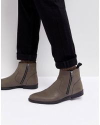 ASOS - Asos Chelsea Boots In Gray Leather With Distressed Sole - Lyst