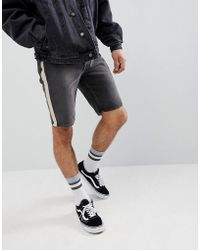 ASOS - Denim Shorts In Skinny Washed Black With Side Stripe - Lyst