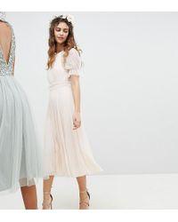 9b1444c1992 TFNC London - Pleated Midi Bridesmaid Dress With Spot Mesh Frill Detail -  Lyst