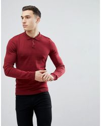 ASOS - Knitted Muscle Fit Polo In Burgundy - Lyst
