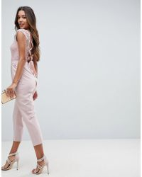 ASOS - Asos Lace Top Jumpsuit With Lattice Back - Lyst