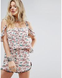 Honey Punch - Cold Shoulder Cami Top In Floral With Rainbow Pom Poms Co-ord - Lyst