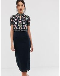 Frock and Frill - Floral And Star Embellished Midaxi Dress With Keyhole Kimono Collar In Navy - Lyst