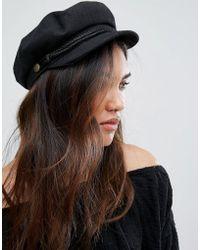Hot Brixton - Baker Boy Hat In Black - Lyst 6d6bcb0f2c