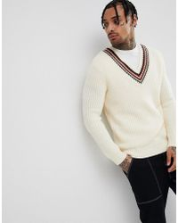 ASOS - Knitted V-neck Sweater With Stripes In Beige - Lyst