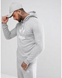 adidas Originals - Adicolor Pullover Hoodie With Trefoil Logo In Grey Cy4572 - Lyst
