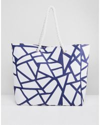 South Beach - Geometric Printed Tote Bag With Rope - Lyst