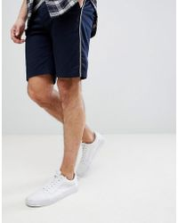 ASOS - Slim Chino Shorts In Navy With White Piping - Lyst