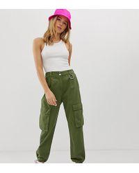 Bershka - Drawstring Hem Trouser In Green - Lyst