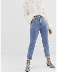 Stradivarius - Mom Jean In Washed Blue - Lyst