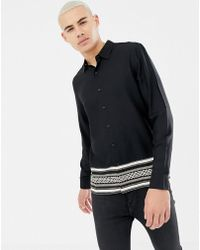 New Look - Regular Fit Shirt With Baroque Border Print In Black - Lyst