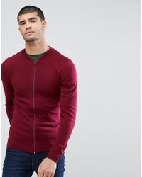 ASOS - Knitted Muscle Fit Bomber Jacket In Burgundy - Lyst