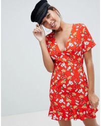 Missguided - Floral Ruffle Hem Tea Dress - Lyst