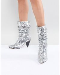 River Island | Slouch Sequin Boots | Lyst