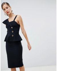 River Island - Button Peplum Bodycon Dress In Black - Lyst