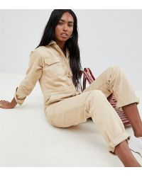 ASOS - Asos Design Tall Denim Boilersuit In Stone - Lyst