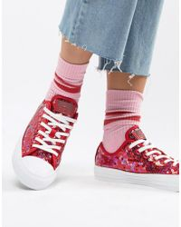 Converse Chuck Taylor All Star Ox Trainers In Stonewashed Pink in ... 4355eca78