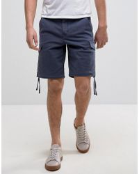 Pretty Green - Vale Cargo Shorts In Navy - Lyst