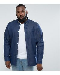 ASOS | Plus Slim Denim Shirt With Stretch With Chest Pocket In Rinse Wash | Lyst