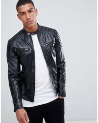 Solid - Leather Biker Jacket - Lyst