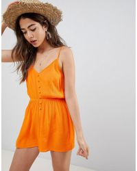 ASOS - Playsuit In Crinkle With Button Front - Lyst