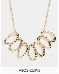 ASOS - Asos Design Curve Statement Necklace With Hammered Open Shapes In Gold - Lyst