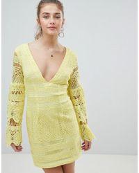 PrettyLittleThing - V Neck Lace Mini Dress - Lyst