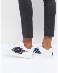 Carvela Kurt Geiger - Leather Sneaker With Sports Stripes & Embellishment - Lyst