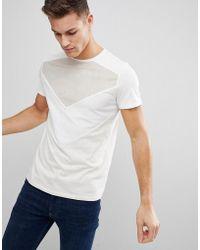 Stradivarius - Suede Panel T-shirt In Cream - Lyst