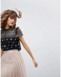 Needle & Thread - Sheer Top With Embellishment - Lyst