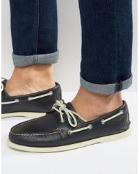 Sperry Top-Sider - Topsider Leather Boat Shoes In Navy - Lyst