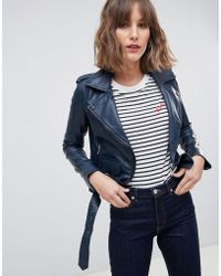 Barneys Originals - Coloured Leather Biker Jacket - Lyst