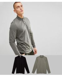 ASOS - Long Sleeve Polo In Jersey 2 Pack Save - Lyst