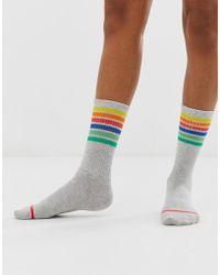Monki Ribbed Socks With Multi Stripe Detail In Grey