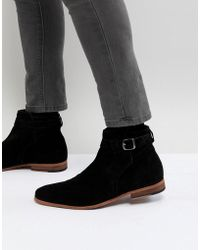 ASOS - Asos Chelsea Boots In Black Suede With Strap Detail And Natural Sole - Lyst