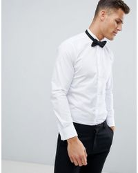 French Connection - Wing Collar Wedding Dress Shirt With Double Cuff - Lyst