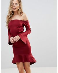 Oh My Love - Off Shoulder Flute Sleeve Mini Dress - Lyst