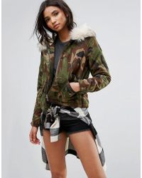 ONLY - Camo Parka With Borg Lining - Lyst