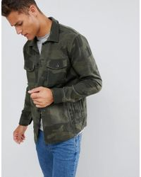 Abercrombie & Fitch - Camo Print Military Overshirt In Green - Lyst