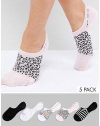 Monki - 5 Pack Printed Sneaker Socks - Lyst