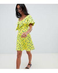 ed28c014a6 ASOS - Asos Design Petite Bubble Sleeve Tie Front Skater Sundress - Lyst
