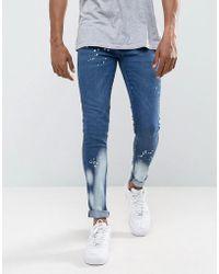 Criminal Damage - Super Skinny Jeans With Bleach - Lyst