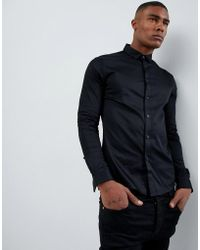 ASOS - Skinny Fit Sateen Shirt With Turned Back Placket In Black - Lyst