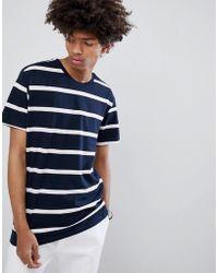 Bershka - Stripe T-shirt In Navy And White - Lyst