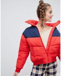 Monki - Short Puffer Jacket In Red - Lyst