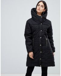 AX Paris - Belted Padded Jacket With Faux Fur Lining - Lyst