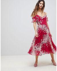 Oasis - Kimono Pleated Midi Dress - Lyst