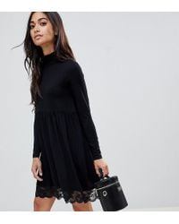 39841945d6868 ASOS Polo Neck Skater Dress With Lace Hem in Black - Lyst