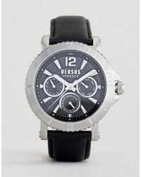 Versus - Steenberg Vsp520218 Chronograph Leather Watch In Black 45mm - Lyst